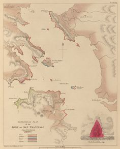 Old Map, Port of San Francisco, San Francisco Bay, Rock Type including Sandstone and Jasper.