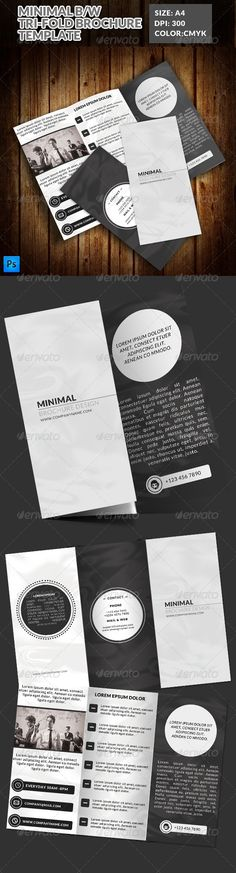 Minimal Black & White TriFold Brochure — Photoshop PSD #white #tri • Available here → https://graphicriver.net/item/minimal-black-white-trifold-brochure/7823020?ref=pxcr