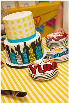 Super hero Birthday Cake, i like the layered different colored buildings on this one