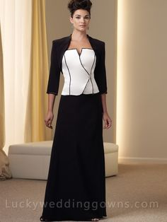 Two-piece Silky Crepe Suit Mother of The Bride Dress
