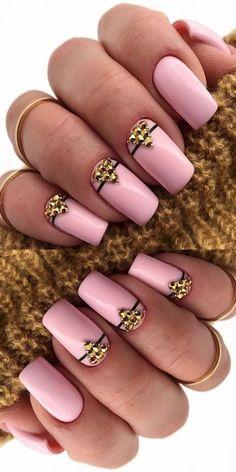 Pink Nail Art, Cute Acrylic Nails, Acrylic Nail Designs, Cute Nails, Pretty Nails, Winter Nail Designs, Simple Nail Designs, Manicure E Pedicure, Manicure Ideas