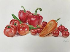 An Original Watercolor painting from my Etsy shop kitchen art red decor https://www.etsy.com/listing/574562725/original-watercolor-kitchen-art