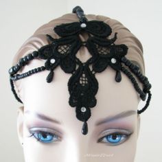 Black Lace with Diamante & Faux Pearl 1920s Gatsby Flapper Headpiece Hair Band by Missie77art Jewellery on ebay.