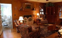 Living Room with Judges Paneling Decorate in English Country Style