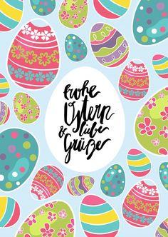 frohe Ostern und liebe Grüße mit Ostereiern | Frohe Ostern | Echte Postkarten online versenden | MyPostcard.com