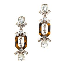 J.Crew - Crystal and tortoise earrings  how cute would these look dressed down with a denim jacket