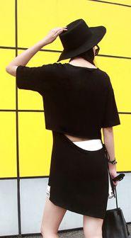 Fashiontroy Unique fashion short sleeves crew neck red black letter printed modal mini dress