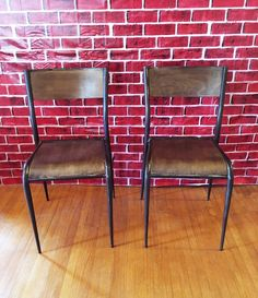French Vintage Industrial Dining Chairs  — Industrial Dining Chairs, Vintage Industrial Furniture, Table Seating, Dining Table, French Industrial, Table Height, French Vintage, Wood, Home Decor