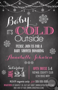 Pink Baby it's Cold Outside Shower Invitations | Expressions Paperie These adorable Pink Baby It's Cold Outside Winter Wonderland Baby Shower Invitations are the perfect way to invite all your family and friends over to celebrate your bundle of joy.