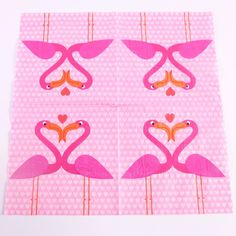 Flamingos in love napkins at www.pinksandgreen.co.uk