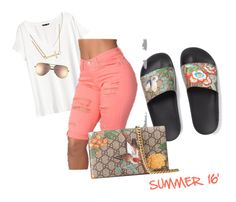 Summa Summa Time by closetchicchronicles on Polyvore featuring polyvore, fashion, style, H&M, Gucci, Alex and Ani, Quay and clothing