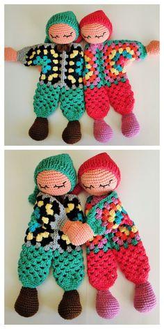 Doll Amigurumi Free Pattern, Crochet Dolls Free Patterns, Crochet Patterns Amigurumi, Amigurumi Doll, Knitted Dolls Free, Knitted Baby, Crochet Pour Halloween, Crochet Lovey, Crochet Granny