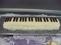 Piano keys cake I make for every Spring piano recital.  I bake the cake in three bread pans, then lay them end to end.  I  use Keebler Fudge sticks as the black keys