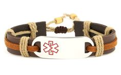 Epic Rustic Medical Alert Leather Bracelet full size