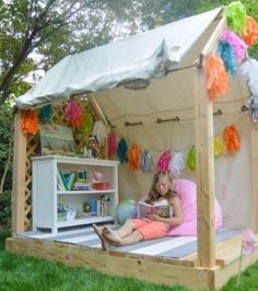 Play House and Outdoor Reading Nook for Kids Girls