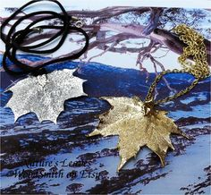 Real Canadian Sugar Maple Leaf Necklace, Sterling Silver, 24K Gold, or Copper Dipped. $15.95, via Etsy.