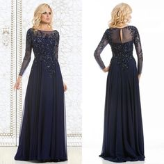 Mothers Dress 2015 Elegant Long Sleeves Mother Of The Bride Groom Dresses Plus Size Sheer Scoop A Line Floor Length Chiffon Mom Dress Evening Gowns Beaded Mother To The Bride Dresses From Sexypromdress, $108.17| Dhgate.Com