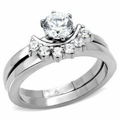 CZ WEDDING RINGS - Unique Design Stainless Steel CZ Engagement & Wedding Rings CostumeFashionJewelry. $18.50