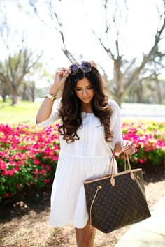 Thursday, March 9, 2017 The Perfect Little White Dress For Spring + My Favorite Mules - DRESS: Current Elliot   MULES: Dolce Vita   SUNGLASSES: Chloe   WATCH: Michele   BRACELETS: Hermes, David Yurman   LIPS: 'Spice' + 'Creme De Nude' + Plumping Gloss   NECKLACE: BaubleBar   TOTE: Louis Vuitton Neverfull GM