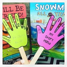 Story retell hands are perfect for story sequence, character, and setting in kindergarten and first grade classrooms. It's a reminder for students