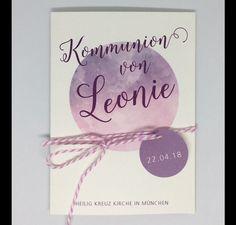 """♥ Kommunion Einladungen inkl. Umschlag """"Leonie"""" ♥ Die Einladung kann natürlich auch für die Firmung oder Konfirmation angepasst werden. Die Karten werden außen mit dem Name des Kindes und der..."""