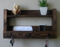Rustic Entryway Organizer with Shelf by KeoDecor on Etsy