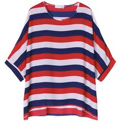 Women Batwing Sleeve Stripe Contrast Color T-Shirt Loose T-shirt ($14) ❤ liked on Polyvore featuring tops, t-shirts, batwing sleeve tops, blue striped t shirt, red t shirt, short sleeve t shirts and summer tops
