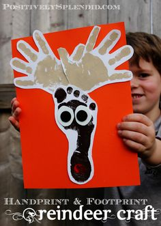 Positively Splendid {Crafts, Sewing, Recipes and Home Decor}: Handprint and Footprint Reindeer Craft