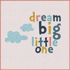 Zen Chic - Dream Big Little One Baby Quilt Pattern - Modern Quilting Pattern - Letters - Brigitte Heitland - Figures Fabrics by Moda