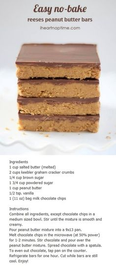 Easy no bake reeses peanut butter bars recipe. Easy to make and requires no baki… Easy no bake reeses peanut butter bars recipe. Easy to make and requires no baking at all. You can do this when you want something sweet b… - Fresh Drinks Candy Recipes, Sweet Recipes, Baking Recipes, Cookie Recipes, Bar Recipes, No Bake Desserts, Easy Desserts, Delicious Desserts, Yummy Food