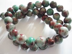 52 Perles de jade multicolore 8 mm : Perles pierres Fines, Minérales par mercerie-jewelry