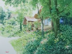 """Shinjuku Exhibition 2015 - Abe Toshiyuki """"Green in the Summer"""" watercolor on waterford 29 x 39 cm, 2015"""