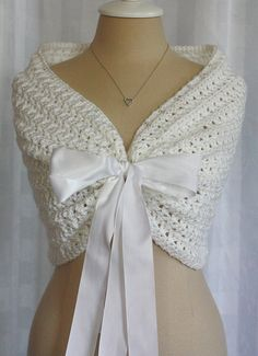Wedding Shawl Bolero Shrug Swarovski crystals Bride Bridesmaid Mother of Bride or Groom Prom white with white satin ribbon WILL CUSTOMIZE by ThePatchworkNest, $85.00