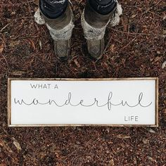 What A Wonderful Life | Wood Sign farmhouse signs, rustic signs, fixer upper style, home decor, rustic decor, inspiring quotes, wood sign sayings, magnolia market, rustic signs, boho, boho style, eclectic living, living room inspiration, joanna gaines dec