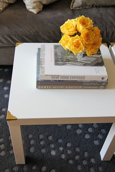 Brass corners make such a difference on IKEA tables