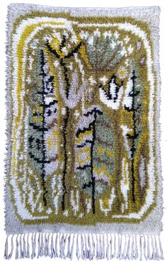 Satumetsä / Fairy-tale forest Aappo Härkönen (Kaino Lemmikki Härkönen) Rya Rug, Wool Rug, Rugs On Carpet, Carpets, Fairy Tale Forest, Scandinavian Cottage, Latch Hook Rugs, Textiles, Old Toys