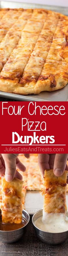 Four Cheese Pizza Dunkers ~ Homemade Pizza Layered with Mozzarella, Asiago, Provolone and Parmesan Cheese! Cut into Rectangles and Perfect for Dipping in Your Favorite Sauces! Four Cheese Pizza, Pizza Pizza, Pizza Party, Pizza Dough, Pizza Recipes, Cooking Recipes, Kid Recipes, Meatless Recipes, Recipies