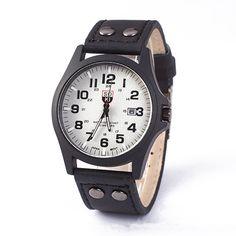 Fashion Mens Military Army PU Leather Band Sports Quartz Wrist Watch