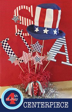 July 4th Printable Set - July 4th Centerpiece Tutorial