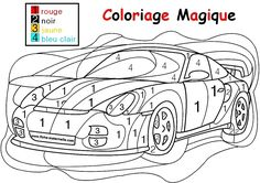 COLORIAGE MAGIQUE pour les plus petits : une auto Fall Coloring Pages, Pattern Coloring Pages, Free Printable Coloring Pages, Coloring For Kids, Senior Activities, Activities For Kids, Kindergarten Math, Preschool, Color By Number Printable