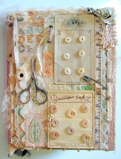"""""""SEW (long ago)"""" Altered art book featuring old-fashioned sewing notions and vintage buttons. This would make a pretty picture for a sewing room. Vintage Sewing Notions, Vintage Sewing Patterns, Sewing Art, Sewing Crafts, Fabric Sewing, Dress Sewing, Couture Vintage, Altered Book Art, Button Cards"""