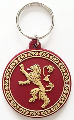 """Game Of Thrones - Rubber Keychain / Keyring (The Lannister House Crest / Sigli / Logo) (Size: 2"""" x 2"""")"""
