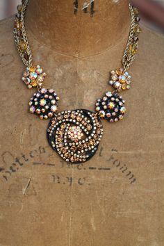 Bold Vintage Statement Necklace OoAk Elegant Sparkle Crystal Rhinestone Assemblage REGAL GLITZ on Etsy, $125.00