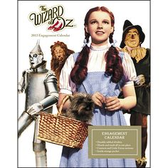 """Wizard of Oz Engagement Calendar: A timeless masterpiece of American cinema, The Wizard of Oz™ is still as culturally significant today as it was when released. The American Film Institute has recognized it in eight separate """"AFI's 100 Years"""" categories.  $16.99  http://calendars.com/Classic-Movies/Wizard-of-Oz-2013-Hardcover-Engagement-Calendar/prod201300000587/?categoryId=cat00062=cat00062#"""