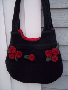 Felted Wool Purse Black Red Flowers Handmade by TwiceNicePurses, $78.00