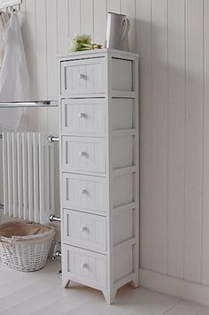 Maine Freestanding Tall Narrow White Bathroom Set Of Six Drawers Excellent Bathroom Storage Furniture With A Range Of Heights To Suit