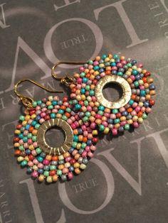 Small Boho Wildflower Hoop Beaded Dangle Earrings Statement Jewelry - Women's style: Patterns of sustainability Seed Bead Earrings, Beaded Earrings, Beaded Jewelry, Crochet Earrings, Chandelier Earrings, Pearl Earrings, Drop Earrings, Seed Beads, Bead Weaving