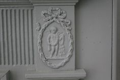 detail of a fireplace mantle at John Marshall House, Richmond VA