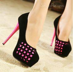 Luxurious #Rhinestone #Ronud-toe Platform #Stiletto #Heels