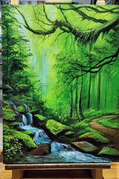Canvas Painting Tutorials, Diy Canvas Art, Painting Techniques, Landscape Art, Landscape Paintings, Art Drawings Sketches Simple, Forest Painting, Videos, Art Work
